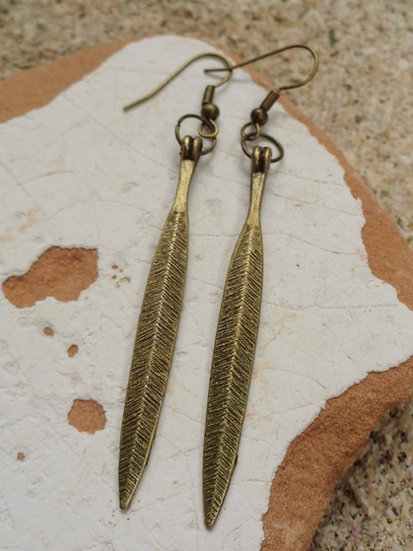 Sexy Long Dangle Antiqued Brass Feather Earrings