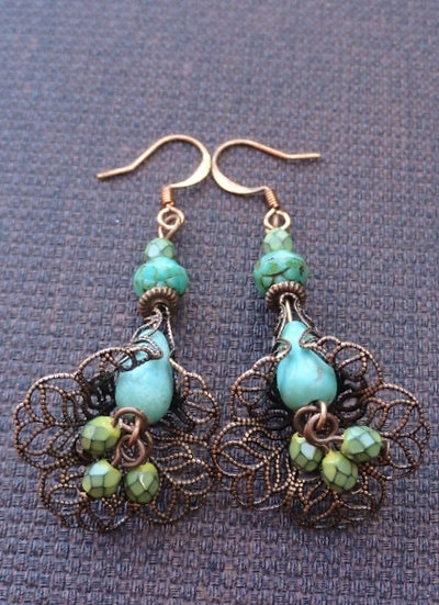 Natural Turquoise Gemstone Flower Earrings
