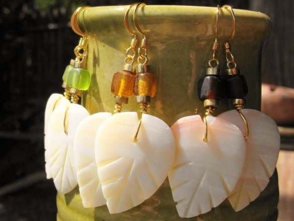 Affordable Glass Bead & Carved Shell Leaf Earrings