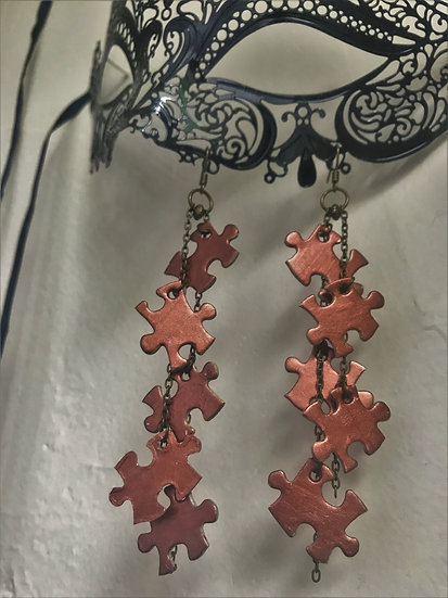 copper long puzzle earrings