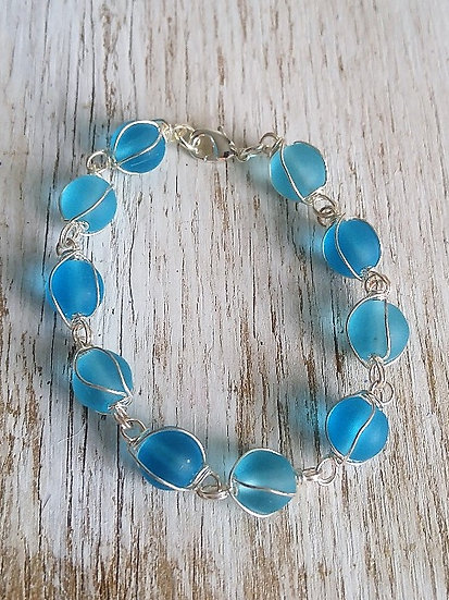 Chic Aqua Glass Bead Bracelet