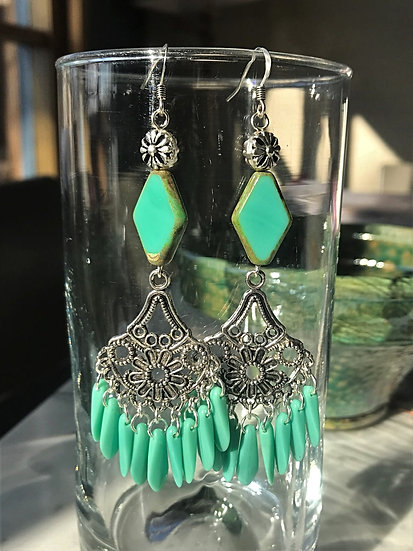 Sexy Turquoise Glass Long Pewter Chandelier Earrings