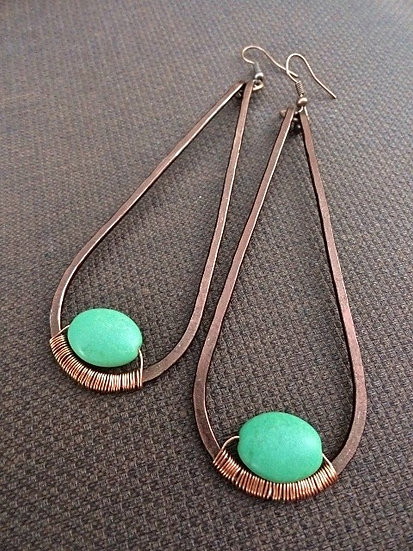 turquoise stone & long copper teardrop earrings