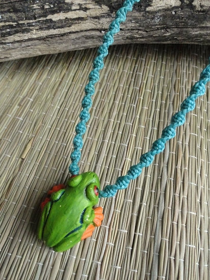 Cute Green Ceramic Frog Macrame Kid Necklace