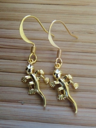 Cute Small Gold Gecko Earrings