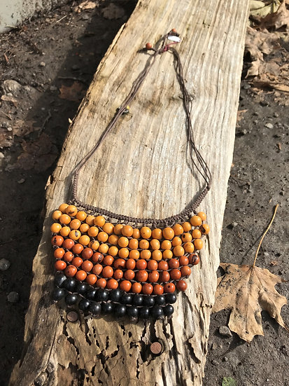 gold, orange & brown Acai Seed long Necklace