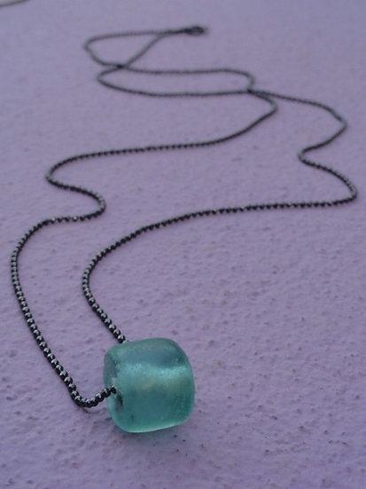 Long Gunmetal Chain & Seafoam Glass Bead Necklace