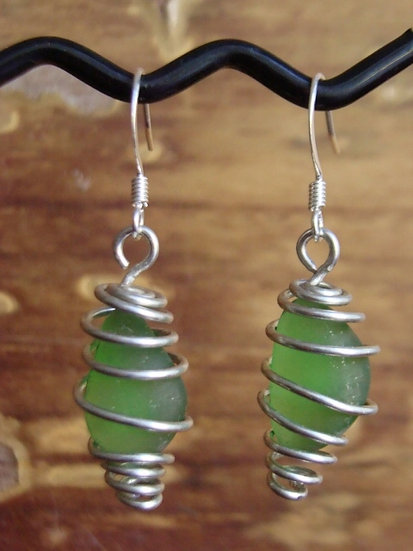 Caged Small Green Affordable Sea Glass Earrings