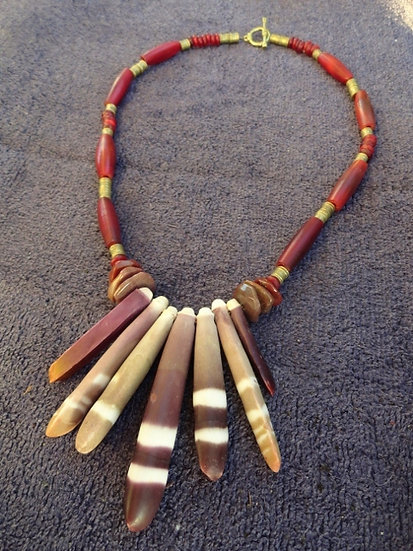 Red Horn & Chunky Sea Urchin Natural Necklace