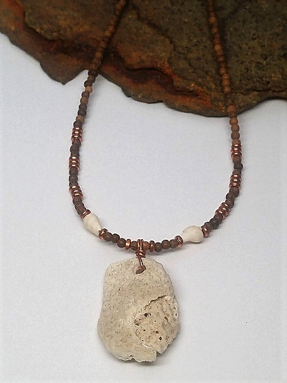 Vieques brain coral pendant on natural wood necklace