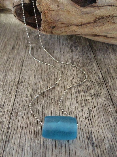 Silver Chain & Blue Recycled Glass Bead Necklace