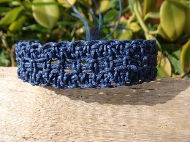 navy blue macrame surf bracelet