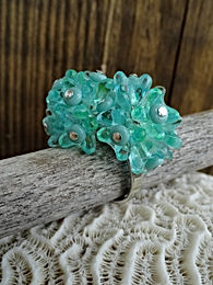 Adjustable Aqua Hydrangea Flower Glass Bead Ring