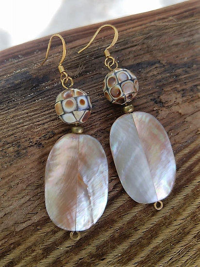 Chic Mother of Pearl Long Drop Shell Earrings