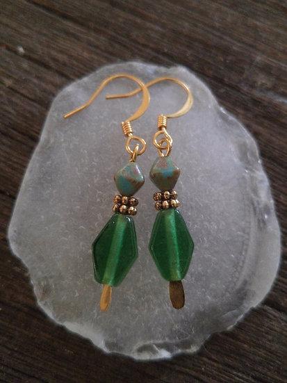 Chic Small Drop Green Glass Bead Earrings