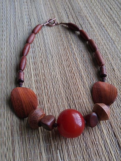 Chunky Resin, Leather & Natural Wood Necklace