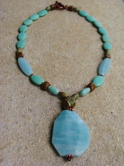 Natural Gemstone Beaded Amazonite Pendant Necklace
