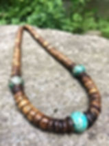 Turquoise & Wood surfer necklace