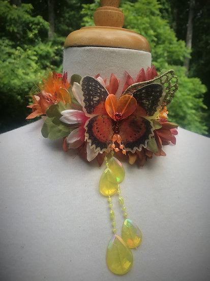orange butterfly upcycled choker