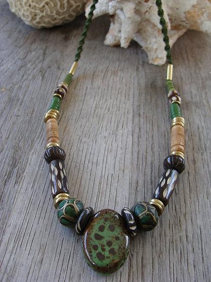 Long Macrame Chunky Green Artisan Ceramic Necklace