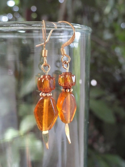 Chic Small Drop Gold Glass Bead Earrings
