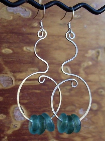 Sexy Long Hammered Silver & Aqua Glass Bead Earrings