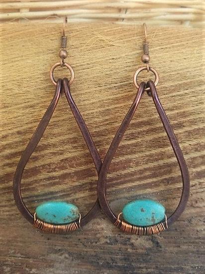 turquoise stone & antiqued copper teardrop earrings