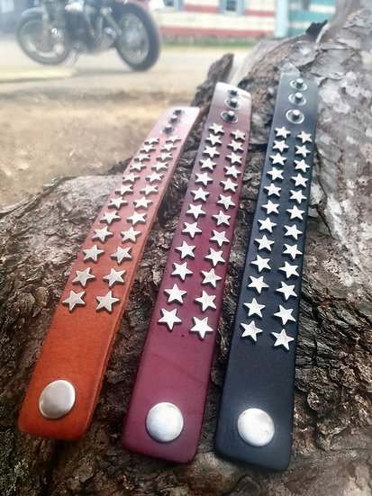 wide leather silver star bracelets