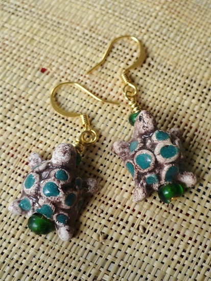 Cute Clay Turtle Affordable Ceramic Earrings
