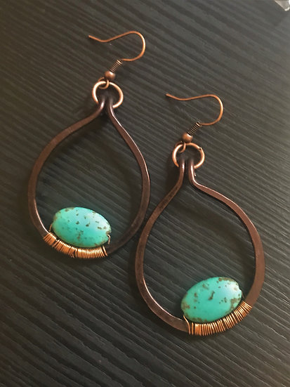 round turquoise stone & hammered copper earrings