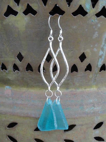 Sexy Long Silver Leaf Recycled Aqua Glass Earrings