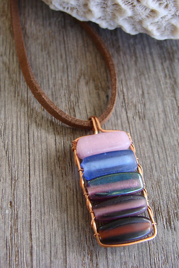 Small Affordable Glass Bead Pendant Necklace