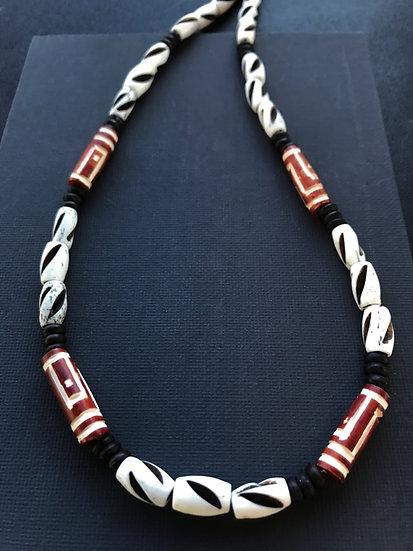 black white & red bone surf necklace