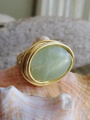 Brass Bird's Nest Sea Green Jade Natural Gemstone Ring