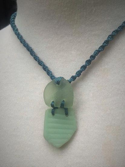 Rare Seafoam & Aqua Macrame Unique Sea Glass Necklace