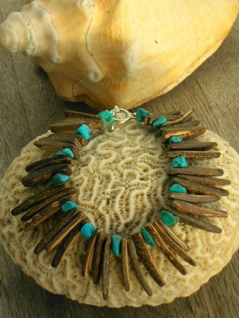 Affordable Turquoise & Coconut Natural Bracelet
