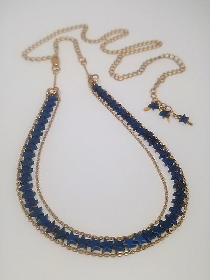 blue hematite star gemstone choker to long necklace