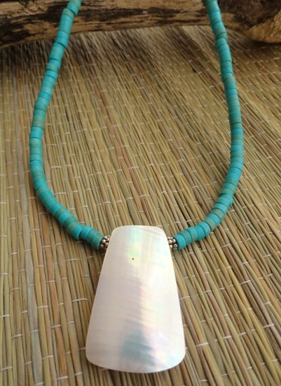 Turquoise Stone & Mother of Pearl Shell Natural Necklace
