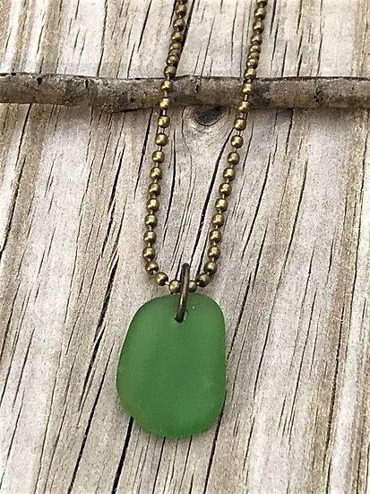 men's green sea glass necklace