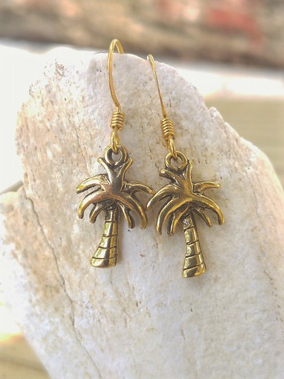 Cute Small Antiqued Gold Palm Tree Earrings
