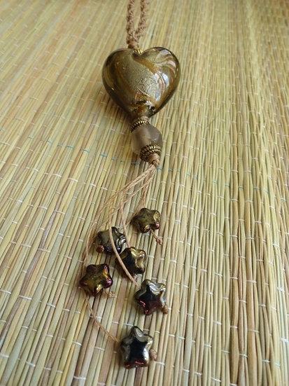 Long Macrame Heart & Star Glass Bead Necklace
