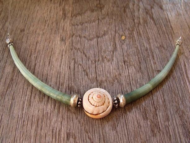 Green tusk & nautilus shell floating necklace