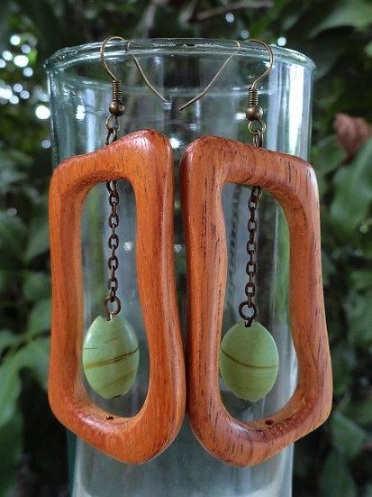 Long Dangle Ceramic Bead & Natural Wood Earrings