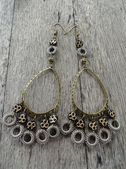 Sexy Long Black Beaded Brass Chandelier Earrings