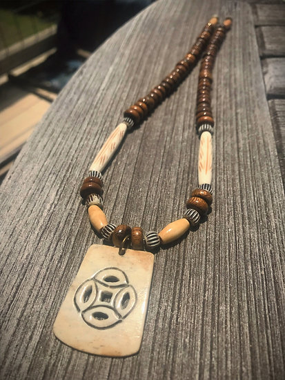 bone sun pendant men's surfer necklace