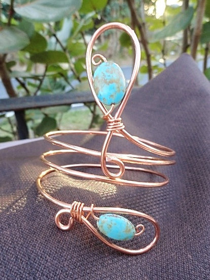 Bohemian Chic Gemstone & Copper Metal Sexy Armband