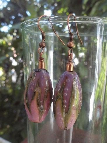 Affordable Long Flower Artisan Glass Bead Earrings