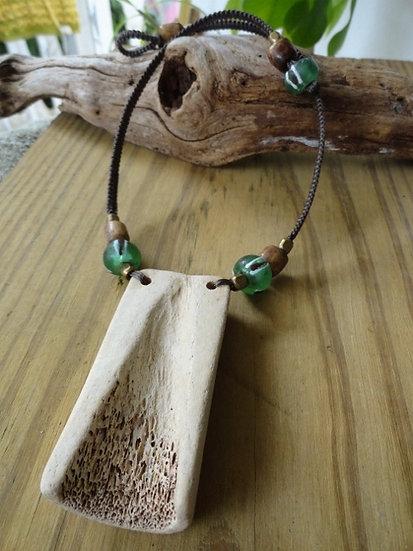 ocean tumbled bone necklace