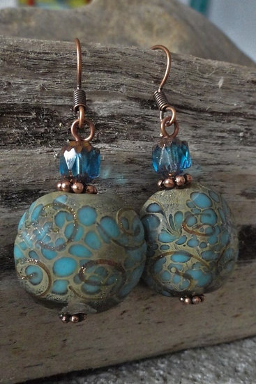 Affordable Big Aqua Artisan Glass Bead Earrings