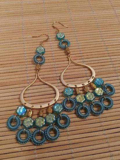 Sexy Long Aqua Beaded Gold Chandelier Earrings